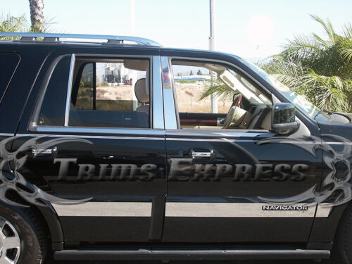 1997-2017 Lincoln Navigator 6Pc Chrome Pillar Post Trim Stainless Steel