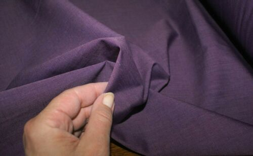 2M /'TEXTURED NATURAL PURPLE/' COTTON BLEND Fabric Sewing Material