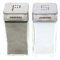 Salt And Pepper Glass Shakers Stainless Steel Tops Lid Restaurant Shaker