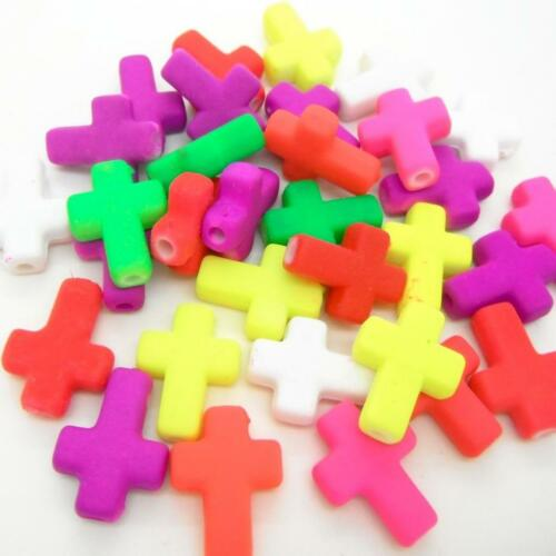 15 x Mixed Neon Colour Flat Cross Rubber Look Bracelet Connector 16x12mm Craft