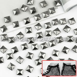 100-x-Nuevo-10mm-Remaches-Tachuelas-Piramide-Gris-Oscuro-para-Decorar-Bolso