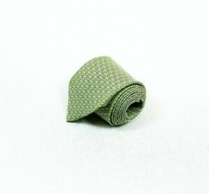 Hermes-Paris-interlock-H-Pattern-100-Silk-Tie-Necktie-Green-Made-in-France-3-5-034