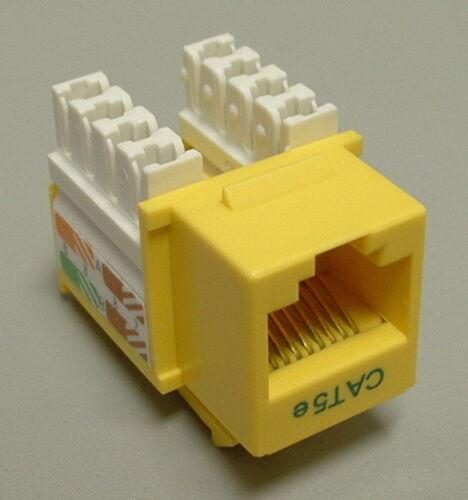 Yellow CAT5e Keystone RJ45 110 Punch Down Keystone Snap-In Jack 5 Pack Lot