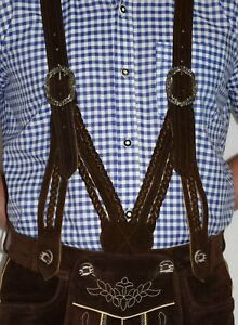 SUSPENDERS-LEATHER-German-Lederhosen-Shorts-Pants-Oktoberfest-Trachten-BRAIDED