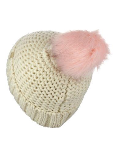 New D/&Y Chunky Warm Knit Cuffed Beanie With Faux Fur Pom Beanie