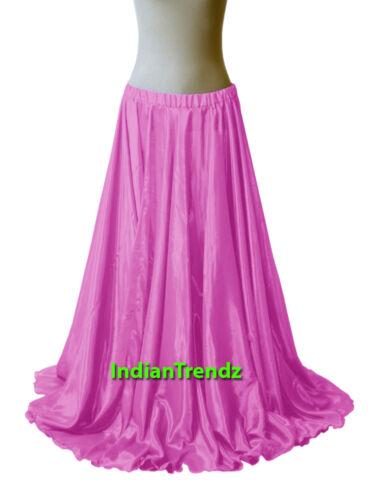 """Royal Blue 40/"""" Long Satin Full Circle Skirt Swing Belly Dance Costume Jupe Rock"""