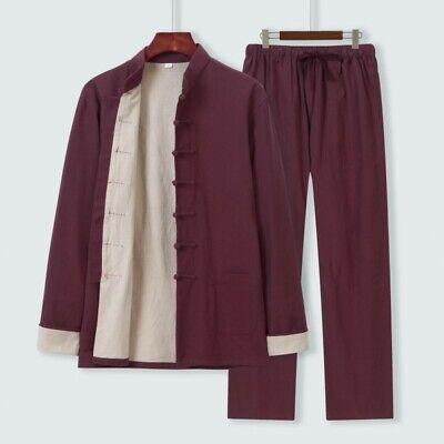 Tai Ji 2pcs Mens Chinese Kung Fu Coat Cotton Linen Retro Tang Suits Loose Jacket