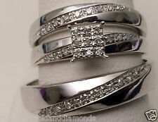 10kt White Gold His Hers Men Woman 0.15 ct Diamonds Pave Wedding Ring Trio Set