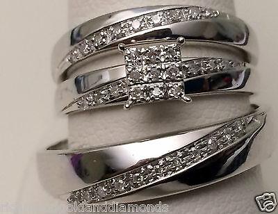 10kt White Gold His Hers Men Woman 0.15 ct Diamonds Pave Wedding Ring Trio Set