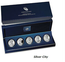 2011 25TH ANNIVERSARY UNCIRCULATED AMERICAN SILVER EAGLE SILVER DOLLAR SET