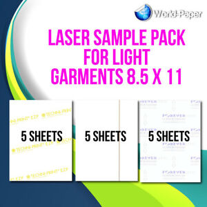 "HEAT TRANSFER PAPER LASER SAMPLE PACK FOR LIGHT GARMENTS 8.5/""X11/"""