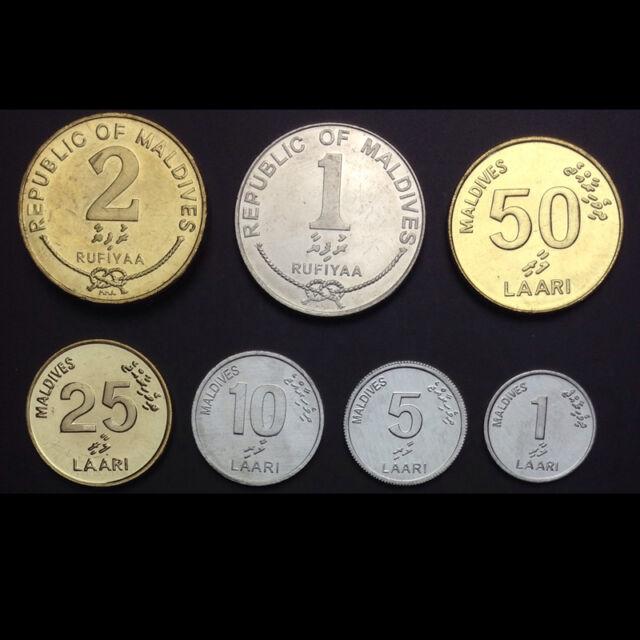 Maldives Set 7 Coins, 1 5 10 25 50 Laari + 1 2 Rufiyaa, 2007-2012, UNC