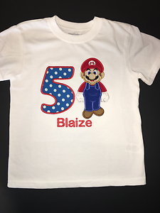 Image Is Loading Mario Embroidered Birthday Shirt 1st 2nd 3rd 4th
