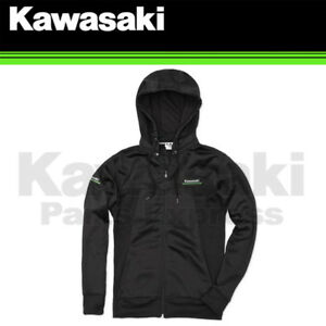 BRAND NEW GENUINE KAWASAKI 3 GREEN LINES TECHNICAL ZIP-FRONT HOODED SWEATSHIRT