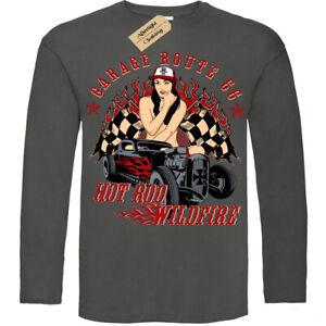 Hot-Rod-Wildfire-T-Shirt-66-Garage-Uomo-Manica-Lunga
