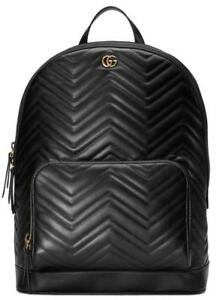 065d88c25f00 NEW GUCCI GG MARMONT BLACK LEATHER CHEVRON DOUBLE G MATELASSE LARGE ...