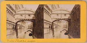 Venezia Pont Dei Sospiri Italia Foto Stereo PL55L2n Vintage Albumina c1875