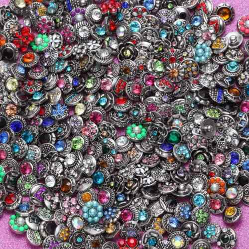 20pcs//lot Mixed Rhinestone Styles 12mm Ginger Snap Button Fit 12mm Snaps Jewelry
