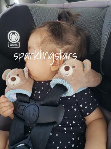 Kellybaby 2 Pack Baby Seatbelt Cover Soft Plush Blue Bear