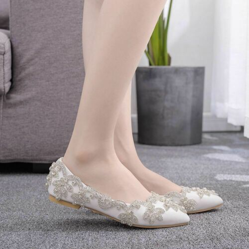 CQ Women Fashion Flat gems wedding bride shoes Pointed Toe Crystal Party shoes