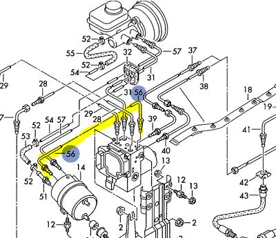 AUDI A8Q S8 2000-03 BRAKE LINE FROM HYDRAULIC PUMP TO ABS UNIT 4D0614706B |  eBayeBay