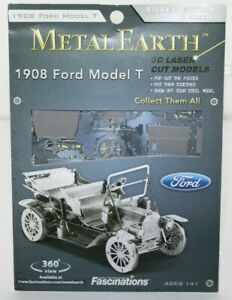 1908-Ford-Model-T-Kit-Metal-Earth-Silver-Edition-3D-Laser-Cut-Model-DIY-Hobby