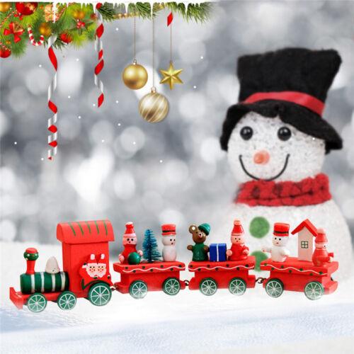 4 Piece Wood Christmas Xmas Santa Claus Train Ornament Decoration kids Gift Toy