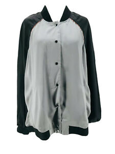 Melissa McCarthy Seven7 Women's Plus Gray Reversible Bomber Jacket Size 0X NEW