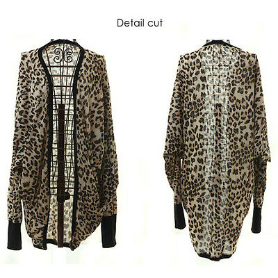 Sexy New Womens Batwing Sleeve Bolero Cape Leopard Loose Long Coat Blazer Jacket