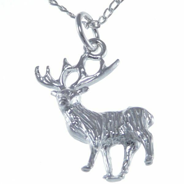 """Silver Stag Pendant & 18"""" Silver Chain"""