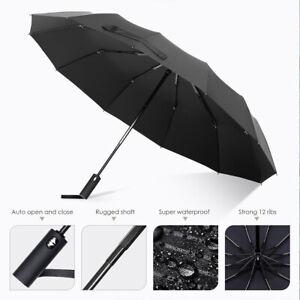 Black Automatic Umbrella Auto Open Close Compact Folding Anti UV Rain Windproof