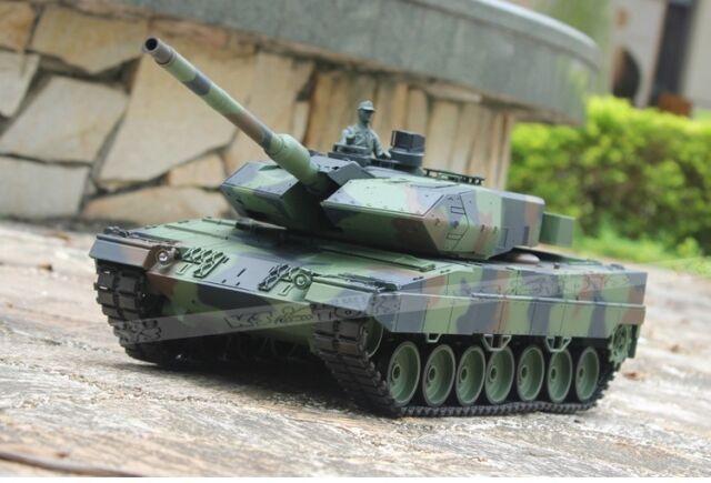 2.4Ghz Radio RC 1/16 German Leopard 2A6 Airsoft Battle Tank w/Smoke & Sound RTR