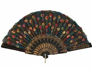 Black-Slab-Fabric-Hand-Fan-with-Peacock-Pattern-Sequin-Style