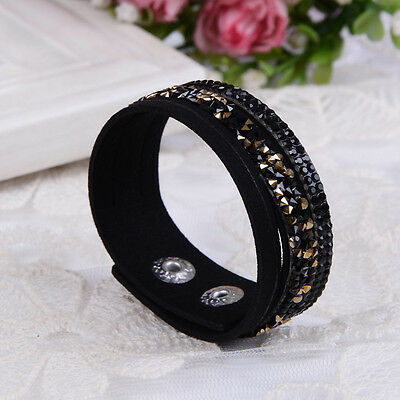 New Fashion Crystal Rhinestone Leather Wrap Wristband Cuff Punk Bracelet Bangle