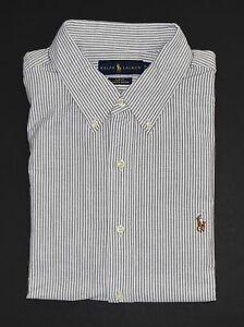 36a80401b0 Dettagli su Ralph Lauren Polo Ardesia Slim a Righe Oxford con Bottoni  Camicia Nuovo