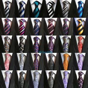 2019-New-Fashion-Classic-Mens-Stripe-Paisley-Floral-Checks-Necktie-100-Silk-Tie