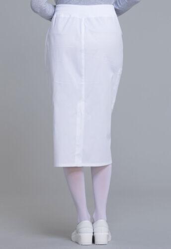 "Cherokee Workwear Scrubs 30/"" Knit Waistband Skirt WW510 WHT White Free Shipping"