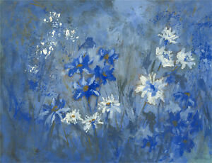 Barbara Doyle (b.1917) - Contemporary Oil, White and Blue Flowers
