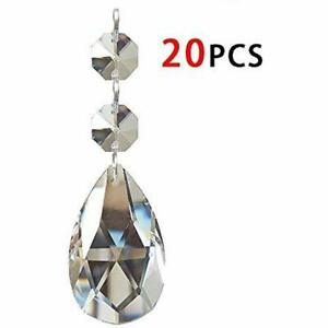 Chandelier Crystals 20PCS Teardrop 38Mm Crystal Pendants Beads For Chandeliers C