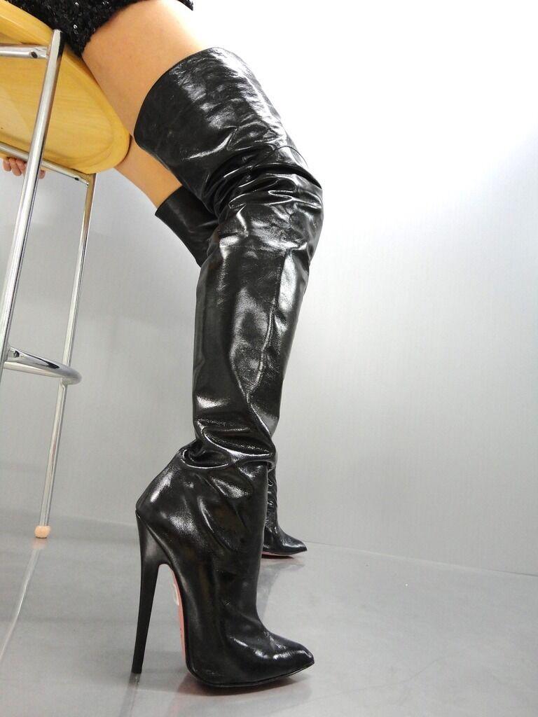 Grandes zapatos con descuento MORI EXTREME HEELS SEXY OVERKNEE BOOTS STIEFEL BOTAS BOTAS LEATHER BLACK NEGRO