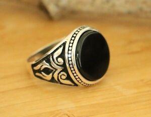Natural-Black-Onyx-Men-s-Rings-Handmade-Turkish-925-Sterling-Silver-Rings