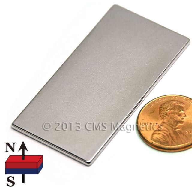 "CMS Magnetics® N45 Neodymium Flat Rectangular Magnet 2""x 1""x 1/16"" 10-pc"