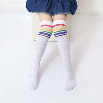 RAINBOW COLOR STRIPE KIDS GIRL BOY AUTUMN ELASTIC KNEE HIGH SOCKS STOCKINGS ALL