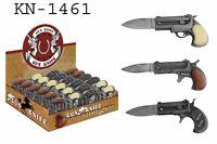 (set/3) Pocket Derringer Gun Shaped Mini Folding Knife Set With 3 Styles