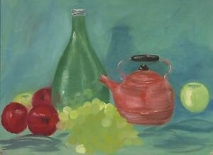 FOLK ART PRIMITIVE NAIVE COPPER TEAPOT APPLES GRAPES FRUIT STILL LIFE PAINTING