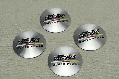 NEW JDM 4Pcs Mugen Power Aluminum Alloy Car Wheel Center Hub Caps Sticker Emblem