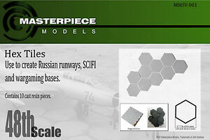 hexagon tiles for Sci fi and Russian tarmac dioramas/ bases 1/48th scale