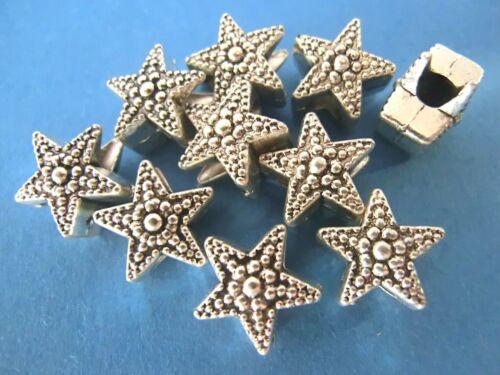 40x Métal Perles Spacer Entre élément 10 mm étoile couleur antique argent #s274