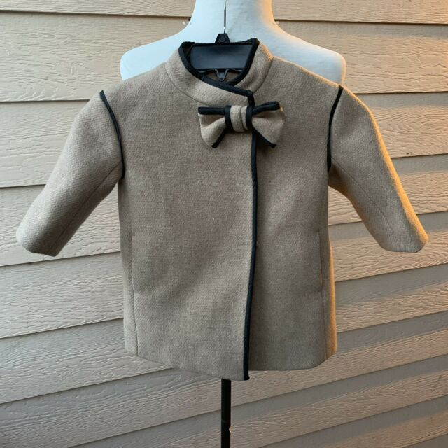 Crewcuts Girl's Wool Blend Coat Bow Tan Black Lined Party Formal Dressy 2
