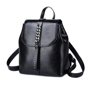 Details About Women Genuine Leather Metal Chain Backpack Satchel Rucksack Shoulder School Bags